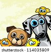 Cartoon funny family with two dog (dalmatians and pugs) and three yellow birds - stock vector