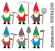 Cartoon Gnome character set - stock vector