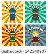 cartoon hero retro color set - stock vector