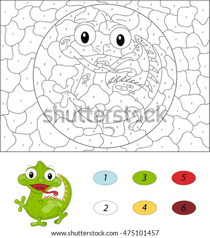 color by number educational game for kids illustration for schoolchild and preschool