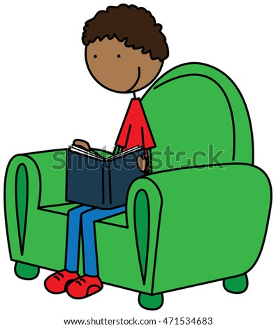 Cartoon illustration of a boy reading a book