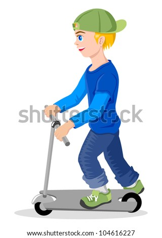 Cartoon illustration of a boy with kick scooter