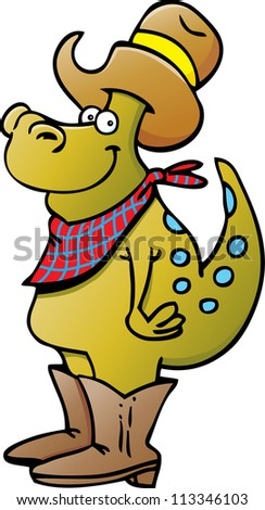 Cartoon illustration of a dinosaur wearing a cowboy hat and boots