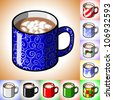 Cartoon illustration of a mug of hot cocoa with mini marshmallows floating in it. Includes many alternative designs on the mug. - stock photo
