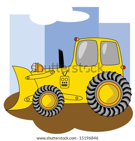 Cartoon Illustration Yellow Bulldozer Tractor Tires Stock