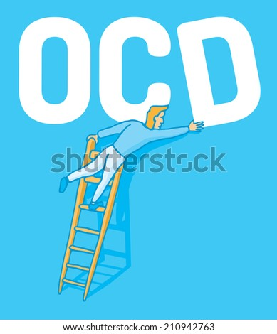 Cartoon illustration of an obsessive man correcting a crooked ocd letter