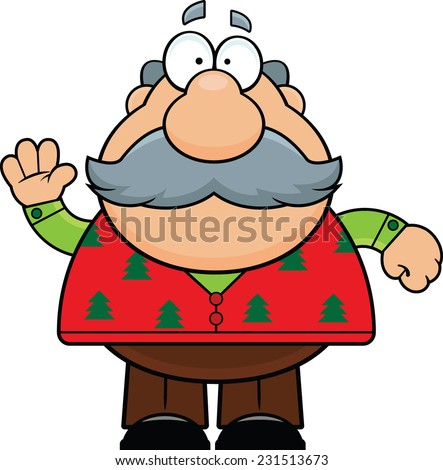 Cartoon illustration of an old man in a Christmas sweater.