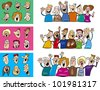 cartoon illustration of happy people big set - stock vector