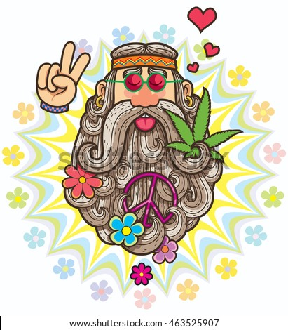 Cartoon illustration of hippie.
