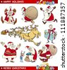Cartoon Illustration of Santa Clauses and Christmas Themes set - stock photo