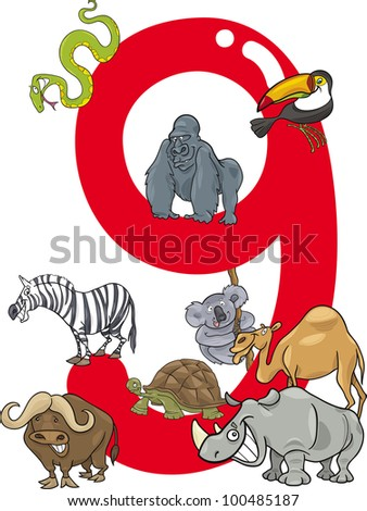cartoon illustration with number nine and different animals