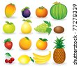 Cartoon Illustrations of Ripe Fruits. Vector Icon of Mango, Bananas, Pear, Pineapple, Persimmon, Kiwi etc... set isolated on white background - stock vector
