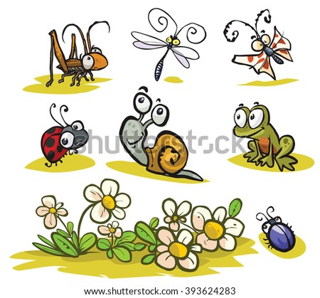 Cartoon Insects and small animals set.