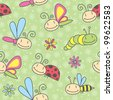 cartoon insects seamless pattern - stock photo