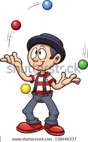 Cartoon juggler. Vector clip art illustration with simple gradients ...