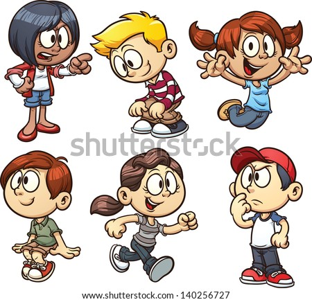 cartoon kids vector clip art illustration with simple gradients each on a separate layer - Cartoon Pictures Of Kids