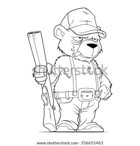 Cartoon line art of the bear as a farmer