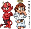 Cartoon little angel and devil. Vector illustration with simple gradients. Each in a separate layer for easy editing. - stock photo
