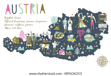 Cartoon Map of Austria with Legend Icons