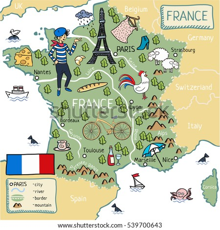 Cartoon Map France Stock Vector 539700655 Shutterstock