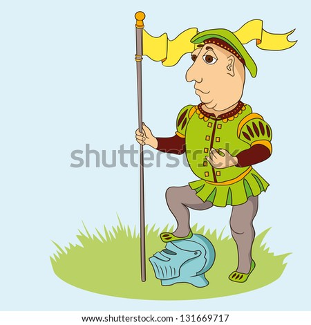Cartoon medieval warrior with flag