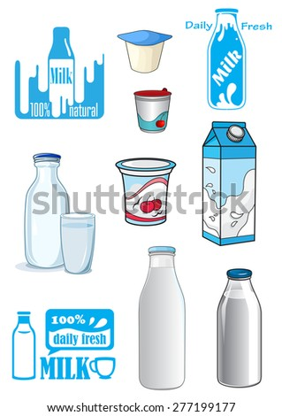 Cartoon milk products and drinks with various bottles, cartons, yoghurt containers and emblems or signs in shades of blue