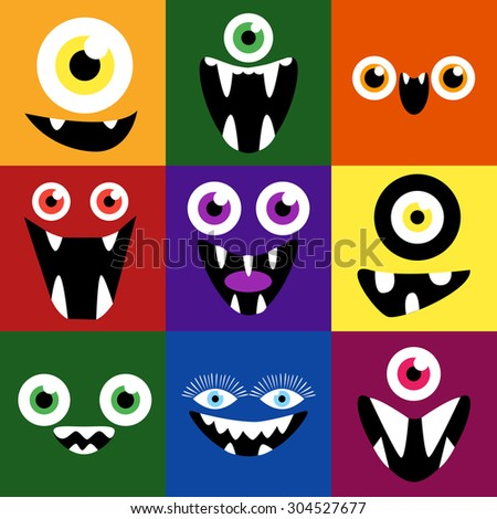 Cartoon monster faces vector set. Smiles and eyes. Cute square avatars and icons