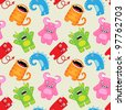 Cartoon monsters seamless pattern - stock vector