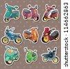 cartoon motorcycle stickers - stock vector
