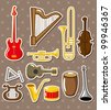 cartoon musical instruments stickers - stock vector