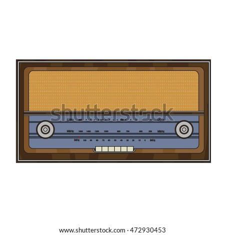 Cartoon old retro vintage radio with station search and buttons.