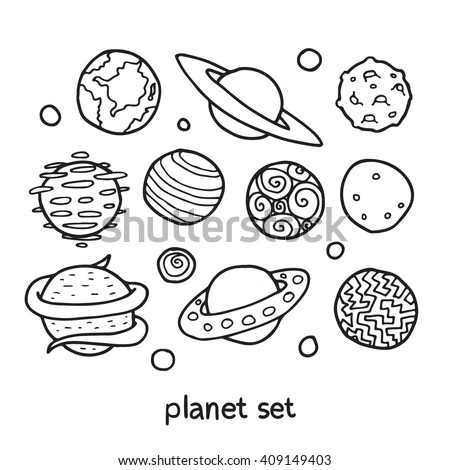 Cartoon outline set of fictional planets. Fantasy worlds collection. Cute vector illustration. Good for coloring book.