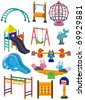 cartoon park playground icon - stock vector