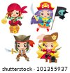 Cartoon pirates Set 1 - stock vector