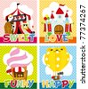 cartoon playground card - stock vector