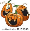 Cartoon Pumpkins having a good time. Layered vector file available. Each pumpkin is complete and on it's own layer. - stock vector