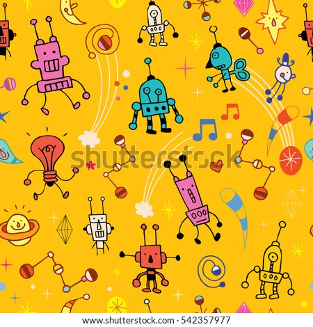 cartoon robot characters seamless pattern