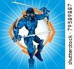 Cartoon Robot Ninja - stock vector