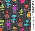 Cartoon robots seamless pattern. - stock vector