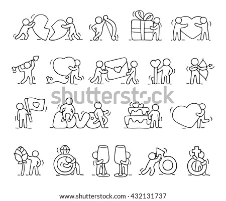 Sketch Working Little People Heart Signs Stock Vector 471789083
