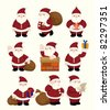 cartoon santa claus Christmas icon set - stock vector