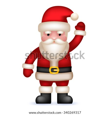 Cartoon Santa Claus Toy Character Waving Hand Isolated Vector Illustration