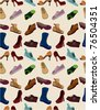 cartoon shoes set seamless pattern - stock vector