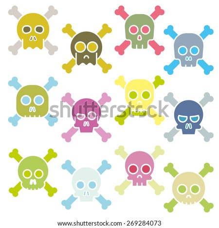 Cartoon skull with bones vector icon set
