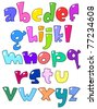 Cartoon small alphabet - stock vector