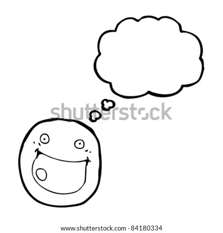 cartoon smiley face with thought bubble