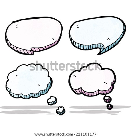 cartoon speech bubbles and thought bubbles