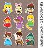 cartoon story people stickers - stock vector