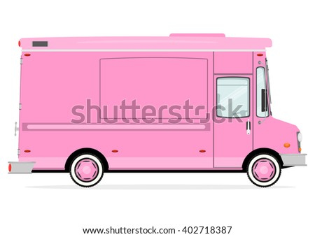 Cartoon Street Food Truck On A White Background Vector