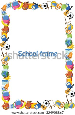 Cartoon students and school stuffs, banner frame